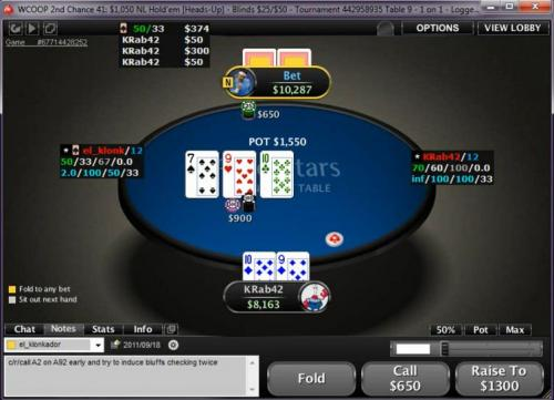 Barewire $1050 Heads Up Poker Deep Stack Game Flow Video