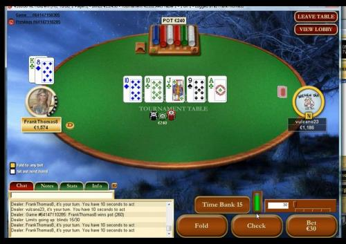 FrankThomas8 plays heads up sng poker regular vulcano23