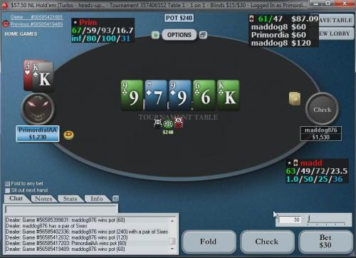 PrimordialAA plays turbo speed heads up sng poker on PokerStars.